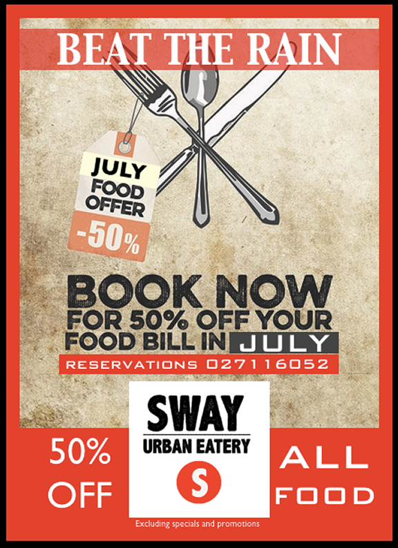 50 Off Food During July At Sway